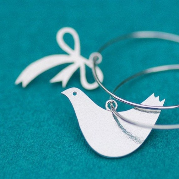 Dove and Bow Silver Hoops
