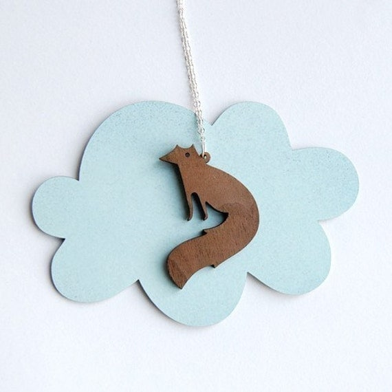 Walnut wood Vixen fox Necklace - small on SALE. Modern British