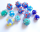 Blue Collection of 13 Lampwork Bumpy Glass Beads