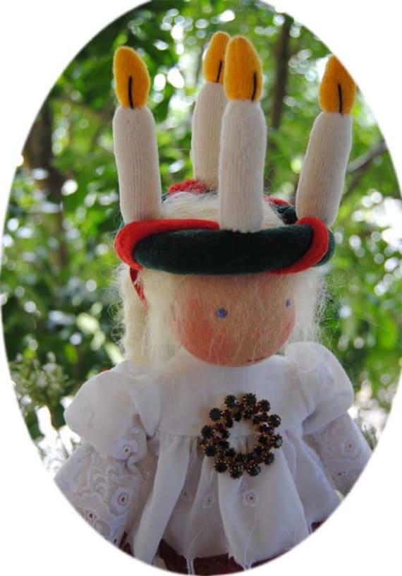 Santa Lucia Qeen of Lights Fairywooldoll Original OOAK Waldorf cloth doll