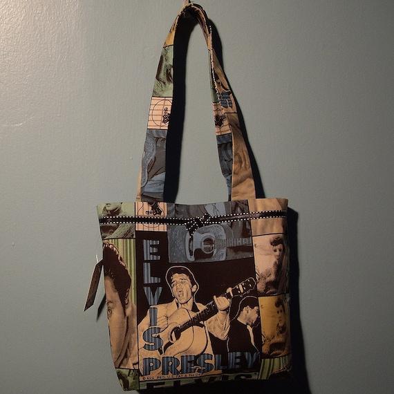 SMALL TOTE BAG Elvis King of Rock 'n' Roll Print Purse Handbag blue