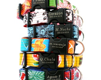 Lazer Etched Personalized Oilcloth Dog Collar - 12 styles