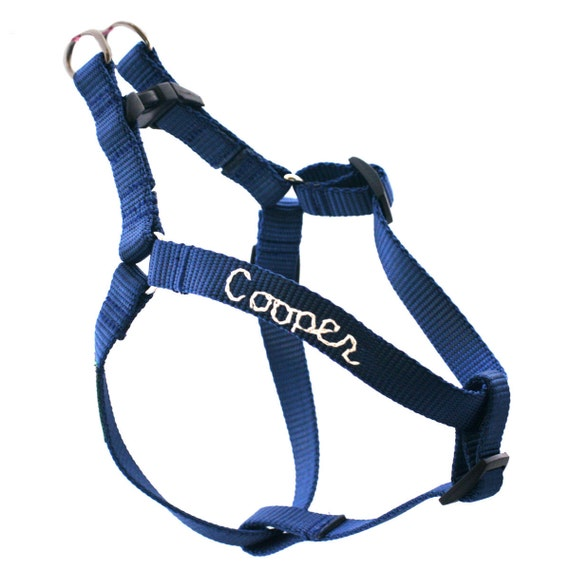 Nylon Webbing Personalized Embroidered Dog Harness -- 18 colors