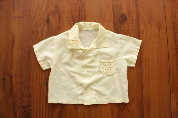 1950s Cabana Button up Pale Yellow Woven Pocket