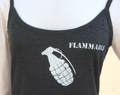 GRENADE FLAMMABLE gray tank top. Women Girls Junior Large  pyro pineapple tshirt dark heather gray SafetyThird