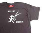 Running with Scissors Safety Third - Asphalt, Black, Navy S - XXL - Mens Tshirt safety 3rd shirt Teacher Stick man Burning Man Long Sleeve