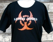 Infected Mutant Safety Third hand-screened tee shirt Plus size M - 3X Black Orange White womens safety 3rd biohazard symbol Burning Man