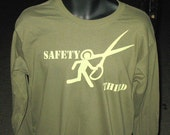 Safety Third Running with Scissors - Mens SMALL Long sleeves Safety 3rd olive green tshirt Teens Tweens Back to School teacher