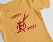 Girls - Running with Scissors SAFETY THIRD tshirt - 6 6x Yellow and red