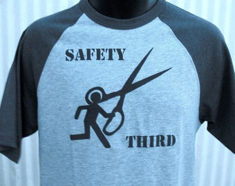 SAFETY THIRD tshirt - Running with Scissors  - Mens baseball tee Safety 3rd Gray and black  Mens ironic tshirt paradox sports fail