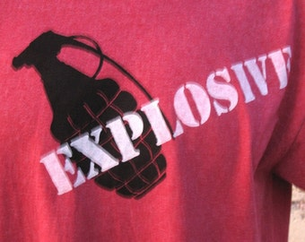 EXPLOSIVE Grenade  tshirt mens  heather red tshirt handmade SAFETY THIRD t-shirt s - xxl Safety 3rd shirt