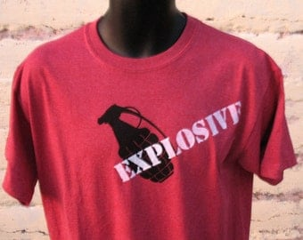 EXPLOSIVE Grenade  tshirt  with SAFETY THIRD on back -  mens heather red   s - xxl Safety 3rd shirt