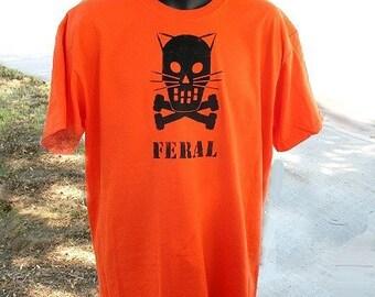 Feral Kitty Crossbones tshirt -- Wild Bad Cat tshirt mens tshirt kittens on back S - XXL unisex orange tshirt halloween tshirt cattitude TNR