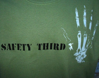 BONY FINGERS  tshirt -- Safety Third mens tshirt finger amputation shirt handmade screenprint safety 3rd mens accident  army green red gray
