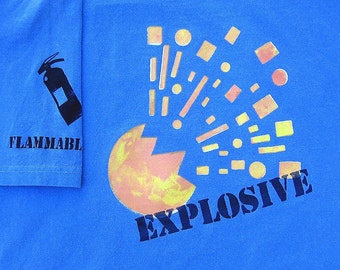 EXPLOSIVE BLAST tshirt -  fire extinguisher FLAMMABLE Mens Tshirt  Blue shirt Fathers Day under 25