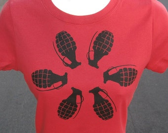 GRENADE FLOWER  in black grenade screenprint -- Scarlet Red Tshirt  womens tshirt - S - 2XL explosive punk tshirt