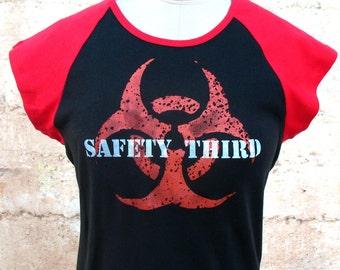 MUTANT BIOHAZARD Safety Third tshirt - Red and Black cap sleeve t-shirt with orange safety 3rd  M L XL  etsybrc hazpunk anarcho