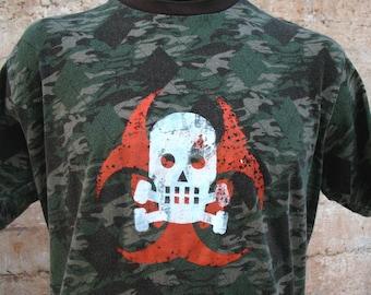 SALE! INFECTED BIOHAZARD tshirt with Skully - Mens - Large green camo tshirt tee shirt Biohazard skull and crossbones