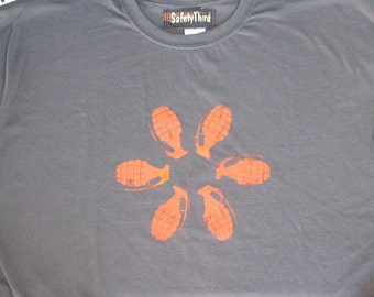 Big Mens GRENADE FLOWER tshirt  - Asphalt Gray Charcoal with orange bomb grenade tshirt Safety third 3x 3xl 4x 4xl 5x 5xl Big Man