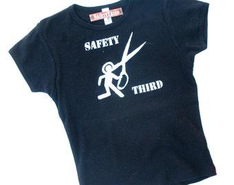 Runs With Scissors Girls Safety Third tshirt - black girls tshirt safety 3rd Small Medium Large - kids clothing artist sewing kids crafts