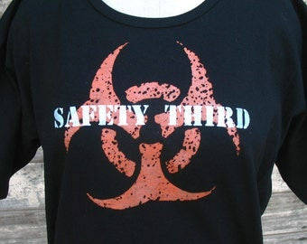 Infected Mutant Safety Third hand-screened tshirt boxy Plus size M - 3X Black Orange White womens safety 3rd biohazard tee shirt Burning Man