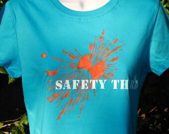 Safety Third tshirt --  womens tshirt  turquoise womens Explosion shirt safety 3rd burning man etsybrc pyro clothing