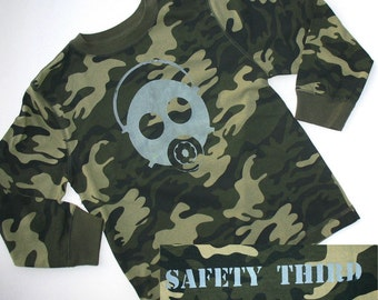 Gas Mask Safety Third BOYS tshirt - camo long sleeve shirt  small 6 8 children clothing one off OOAK kids clothing Safety 3rd