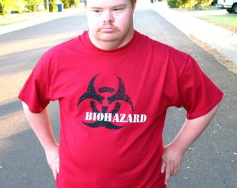 MUTANT BIOHAZARD mens tshirt   safety third shirt - mens  s m l xl xxl red  hand screened