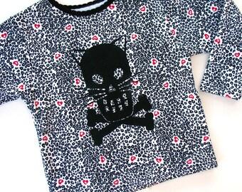 Kitty Crossbones Girls Sweatshirt - Leopard print  children clothing 4T toddler kitty shirt Black and white and Hearts Cat Skull
