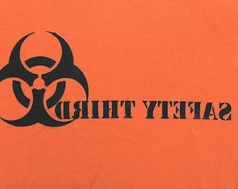Backwards tshirt - SAFETY THIRD Mens Biohazard TShirt orange - Mirror Image Mens tshirt S M L xL xxl Looking Glass  Burning Man EtsyBRC
