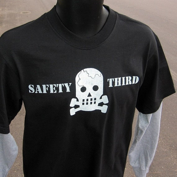 SMALL or med Skully SAFETY THIRD tshirt Cracked skull concussion black mens tshirt - long sleeve contrast arms teens safety 3rd shirt