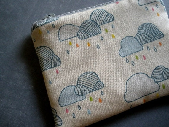 Rain Drops Coinpurse in Organic Cotton