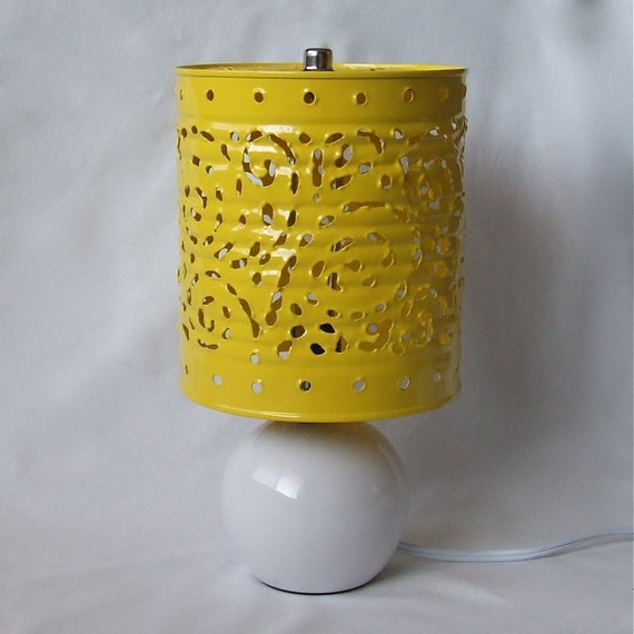 Yellow and White Swirl Lamp - limited edition