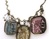 RESERVED Wallonian Postage with Kings and Lion-Vintage Watch Crystal Necklace