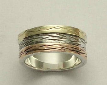Wedding band, unisex band, Sterling silver band, yellow gold band, rose gold band, mixed metal band, wedding ring  -  love of mine R0947D