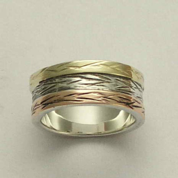Men's Wedding band, unisex band, Sterling silver band, yellow gold and rose gold ring, twotone ring, wide silver band -  love of mine R0947D