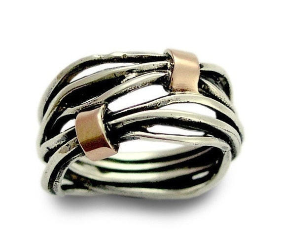 Love of my life - Sterling silver integrated rose gold wedding ring.