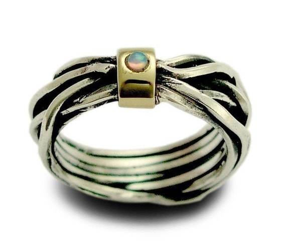 Your thoughts - Sterling silver integrated 9K yellow gold ring inlaid a lab grown opal.