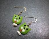 Cat Face Earrings in Bright Green