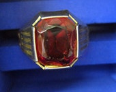 Men's 10k Gold Art Deco Ring with Red Glass Setting - coupon item