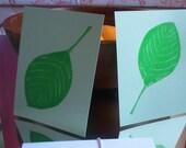 The Green Fan set of 5 flat linocut note cards