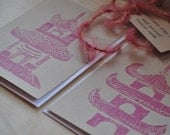 Pink Pagoda Asian Art Print Note Cards Hand Printed Wedding Invitation Note Cards