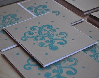 Chrysathemum Note Cards Hand Printed Blank Cards Turquoise Flat Notecards