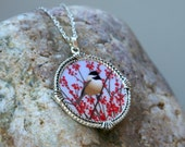 Chickadee Pendant Necklace Winterberry Ilex Bird Red Winter Nature Natural History Woodland