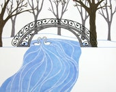 Winter Garden, 8 x 10 Fine Art Print Snow River Central Park Inspired Birds White Woodland Swan Tree Branches