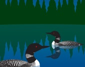 Loons, 8 x 10 Fine Art Print Waterfowl Birds Black and White Lake Pond Summer Night blue Green Forest Evergreens Woodland