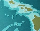 """Hawaiian Islands - 8 x 10"""" layered papercut art"""