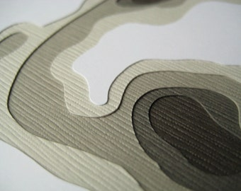 Topography in Slate - One handcut card