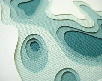 Topography in Teal - Set of 4 handcut cards