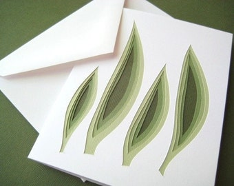 Retro Grass - one hand cut art card